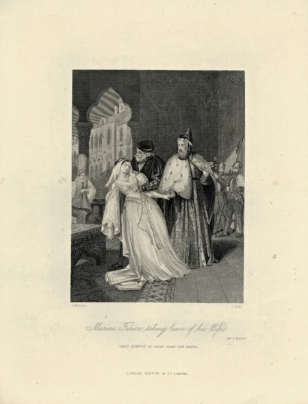 Antique Engraving Print, Marino Faliero taking leave of his Wife, 1830 ca.