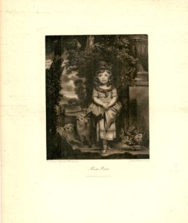 Rare Antique Engraving Print, Miss Price, 1870 ca.