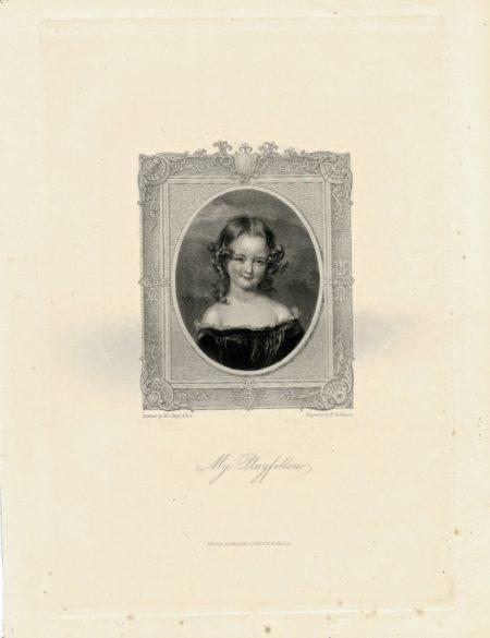 Antique Engraving Print, My Playfellow, 1840