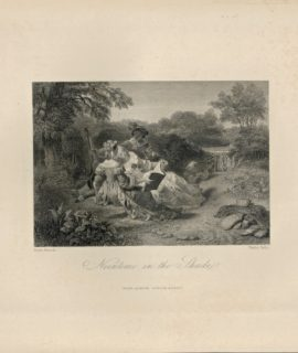 Antique Engraving Print, Noontime in the Shade, 1840