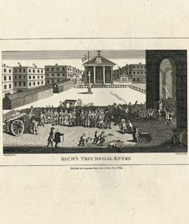 Antique Engraving Print, Rich's Triumphal Entry, 1809 Painted by William Hogarth