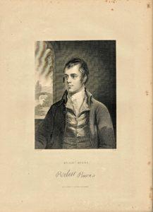 Antique Engraving Print, Robert Burns, 1840
