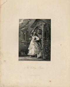 Antique Engraving Print, The Cottage Porch, 1840