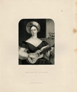 Antique Engraving Print, The Lady of the Palace, 1844