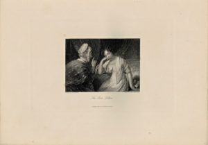 Antique Engraving Print, The Love Letter, 1845