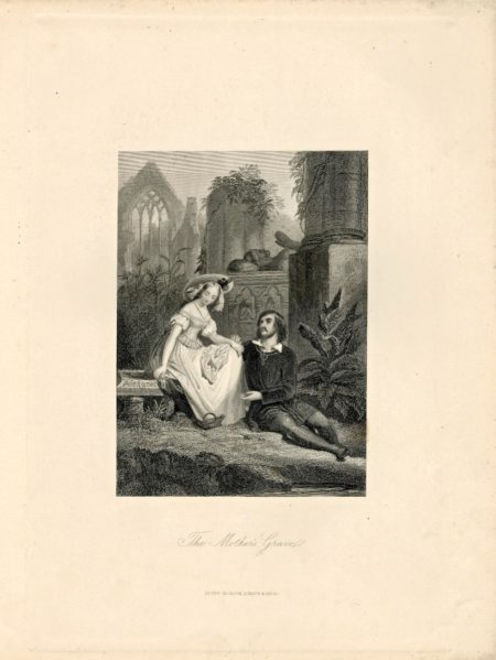 Antique Engraving Print, The Mother's Grave, 1845 ca.