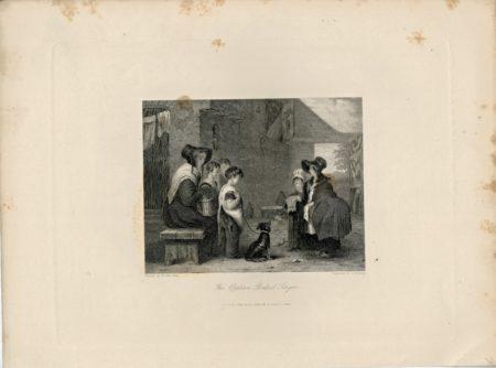 Antique Engraving Print, The Orphan's Ballad Singers, 1844
