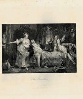 Antique Engraving Print, The Revellers, 1830 ca.