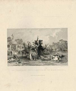 Antique Engraving Print, The Tournament. Ivanhoe rescued by the black knight, 1837