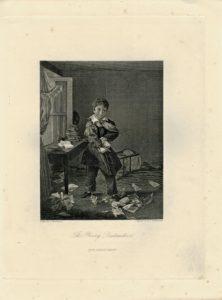 Antique Engraving Print, The Young Destructive, 1845