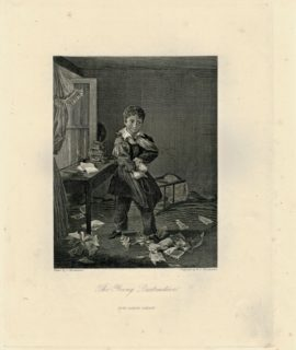 Antique Engraving Print, The Young Destructive, 1845