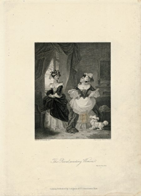 Rare Antique Engraving Print, The Rival waiting Women, 1836