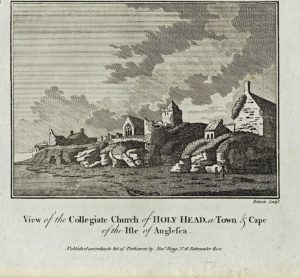Antique Engraving Print, View of Collegiate Church of Holy Head..., 1820 ca.