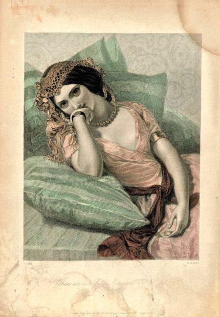 Antique engraving print, thou art not false but thou art fickle, 1846. Credit Antiche Curiosità©