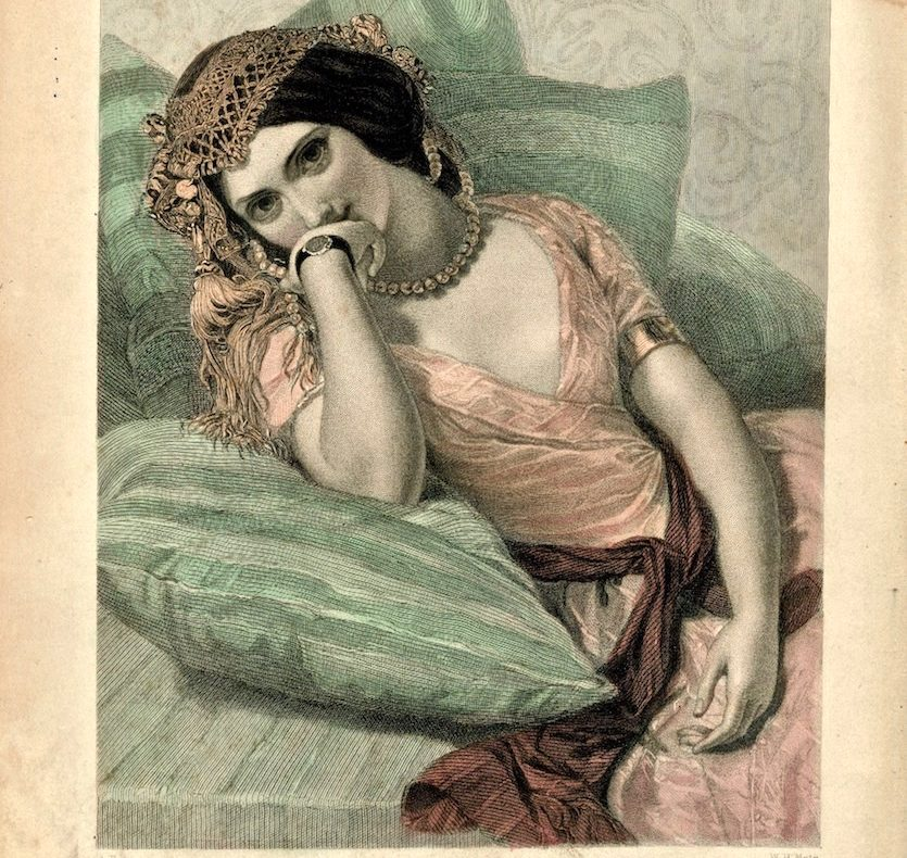Antique engraving print, thou art not false but thou art fickle, 1846. Credit Antiche Curiosità©