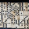 Antique Handmade Bone Dominoes in the wood box, 1890 ca., cm. 18 x 6, weight gr. 389.