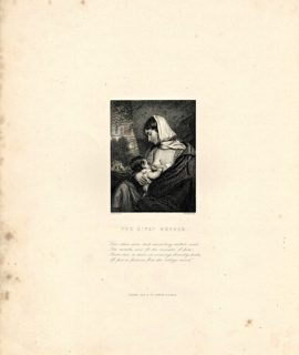 Rare Antique Engraving Print, The Gipsy Mother, 1820 ca.