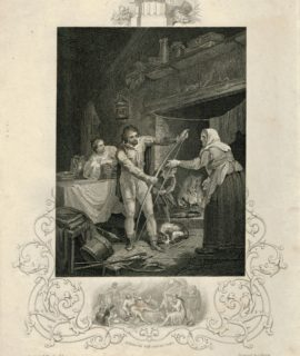 Rare Antique Engraving Print, Alfred in the Neatherd's Cottage, 1850