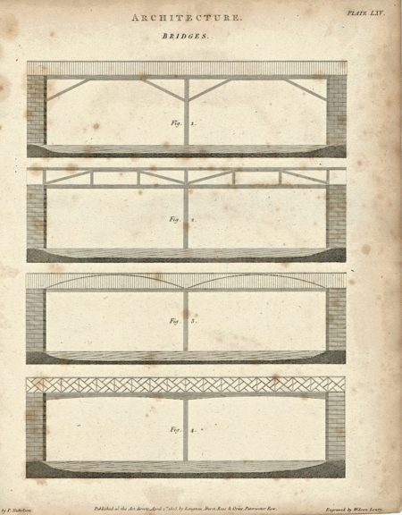 Antique Engraving Print, Architecture, Bridges, 1805