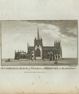 Antique Engraving Print, The Cathedral Church of St. Ethelbert at Hereford, 1770