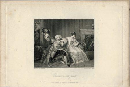 Rare Antique Engraving Print, Chacun à son goût, London, 1836