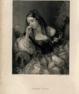 Antique Engraving Print, Donna Julia, 1833