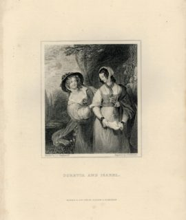 Rare Antique Engraving Print, Doretta and Isabel, 1830