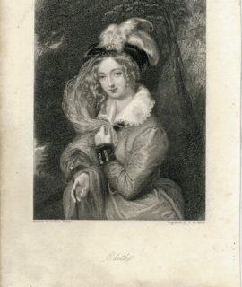 Rare Antique Engraving Print, Edith, 1835