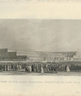 Antique Engraving Print, A View of the Great Industrial Exhibition in Hyde Park, 1850