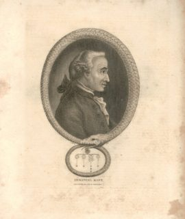 Antique Engraving Print, Immanuel Kant, 1812