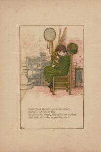 Antique Engraving print, Little Jack Horner nursery rhyme illustrated by Kate Greenaway, 1881