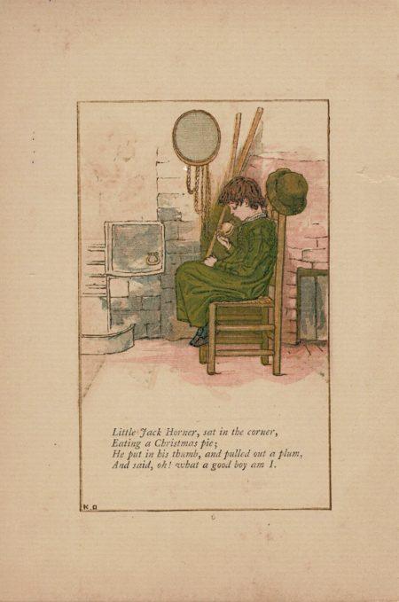 Antique print, Little Jack Horner nursery rhyme illustrated by Kate Greenaway, 1881