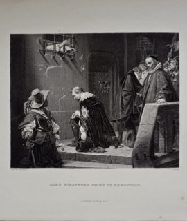 Antique Engraving Print, Lord Strafford, going to execution, 1830
