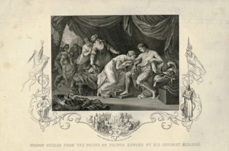 Rare Antique Engraving Print, Poison Sucked from the wound of Prince Edward by His Consort Eleanor, 1850
