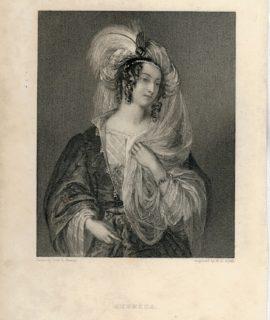Rare Antique Engraving Print, Rebecca, 1833