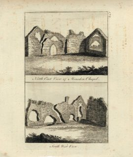 Antique Engraving Print, North East View of Minsden Chapel; South West View, 1770