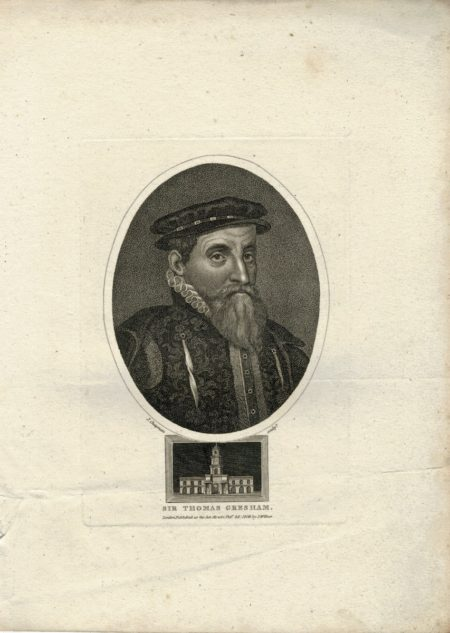 Antique Engraving Print, Sir Thomas Gresham, 1806