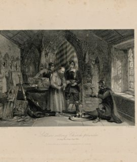 Antique Engraving Print, Soldiers Selling Church Plunder, 1841
