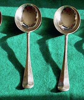 Six Vintage Deco Large Spoon Set, Century Plate, James Walker, London, 1930