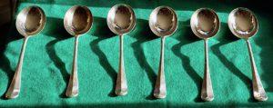 Six Vintage Deco Large Spoon Set, Century Plate, James Walker, London, 1930