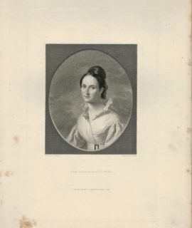 Antique Engraving Print, The Missionary's Wife, 1840