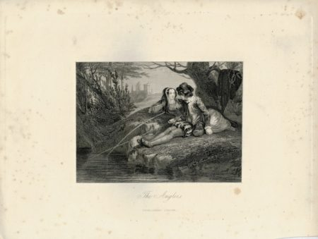 Rare Antique Engraving Print, The Anglers, 1830 ca.