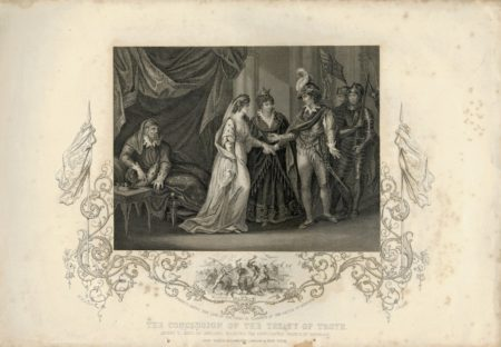 Antique Engraving Print, The Conclusion of the Treaty of Troye, 1850
