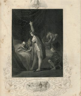 Antique Engraving Print, The Death of Cardinal Beaufort, 1850