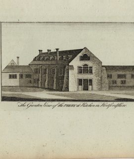 Antique Engraving Print, The Garden View of the Priory at Hitchin in Hertfordshire, 1770