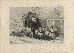 Rare Antique Engraving Print, The Stage Coach, 1820 ca.