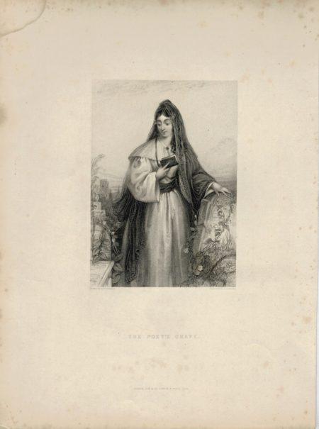 Antique Engraving Print, The poet's grave, 1838
