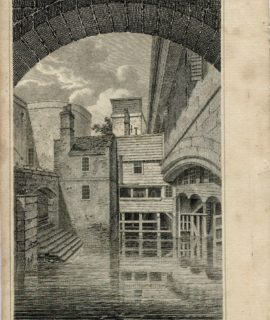 Antique Engraving Print, Traitors Gate, Tower of London, 1806