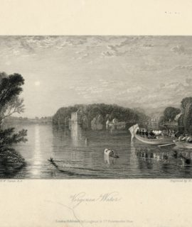 Antique Engraving Print, Virginia Water. 1836