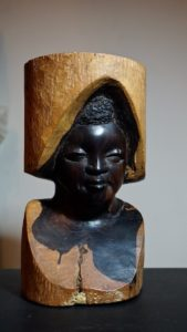 Vintage Hand Carved African Tribal Woman Ebony Sculpture
